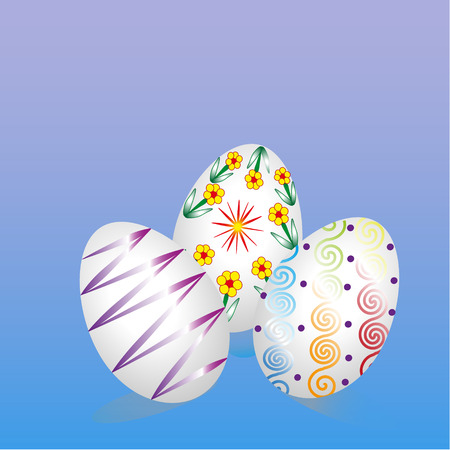 Three Easter eggs Picture three Easter eggs blue background under the eggs visible shadow Stock Vector - 52842464