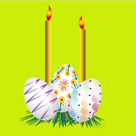 Three Easter eggs and two candles Picture three Easter eggs and two candles on a green spring background eggs lie on dark green grass Stock Vector - 52842468