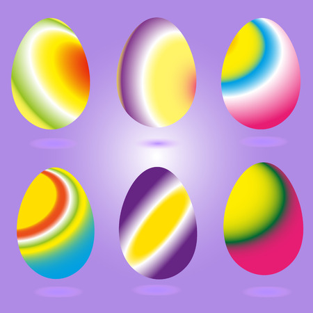 six objects: Rainbow Easter Eggs Set of six Easter eggs rainbow on a purple background with shadows beneath bright testicles