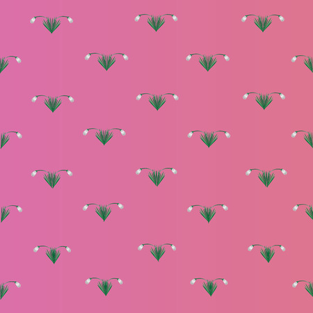 snowdrops: Snowdrops pattern on a pink background Snowdrops pattern on a pink background with white small flowers with green leaves Illustration