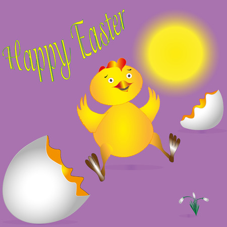 hatched: The yellow fluffy chicken Drawing fluffy yellow chick just hatched from the eggs in the picture snowdrops under the sun and the words Happy Easter
