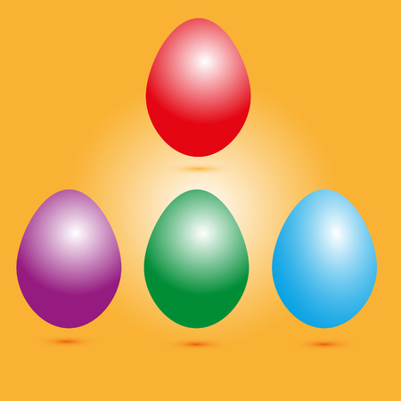 purpule: Set of colored eggs set of four colored Easter eggs with shadow on orange background Illustration