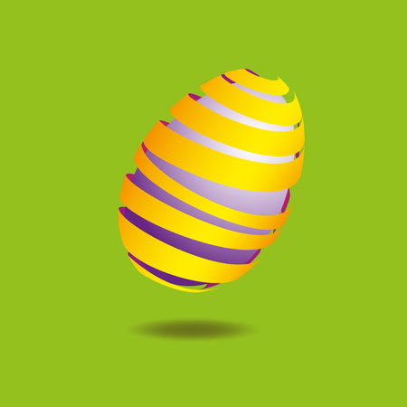 cone shell: Purple egg wrapped in a yellow ribbon Illustration of festive purple egg wrapped in a yellow ribbon on a green background with a clear shadow