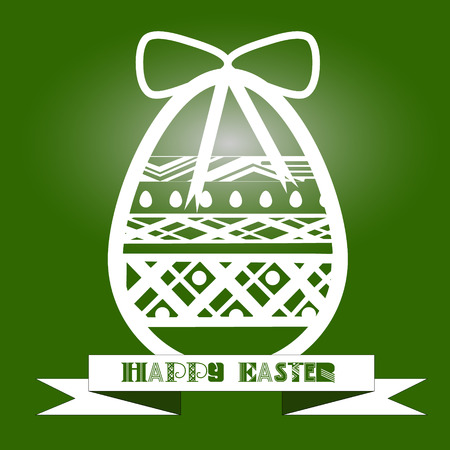 cone shell: Illustration vintage egg with a white pattern on a green background Illustration vintage egg with a white pattern on a green background with a festive bow and the words Illustration