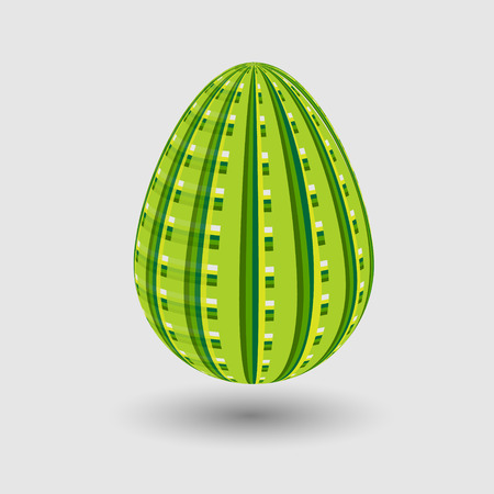 striped band: Picture spring egg with green striped pattern on the shell Spring egg with green striped pattern on the shell on a gray background with shadow Illustration