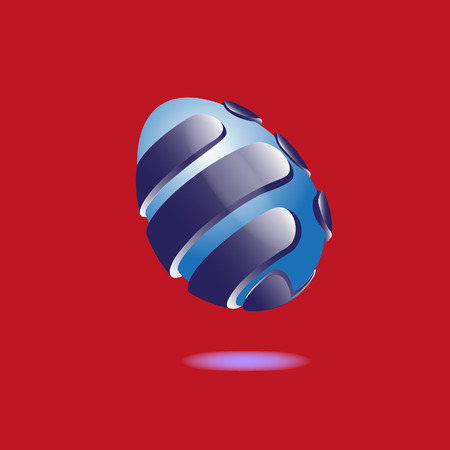 Illustration blue egg protected by armor Abstract illustration of a blue egg protected by armor on a red background with shadow under the object