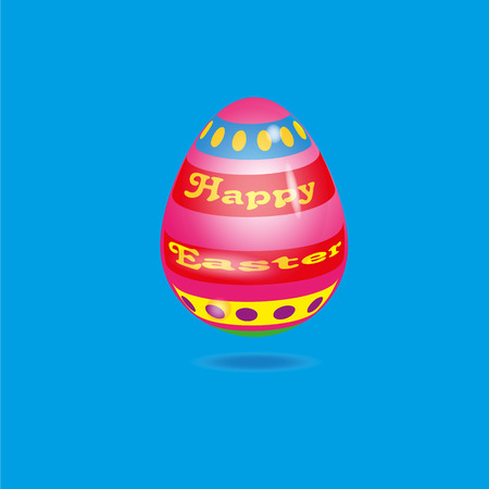 Illustration festive bright egg Illustration festive bright egg with yellow lettering happy Easter on blue background with shadow