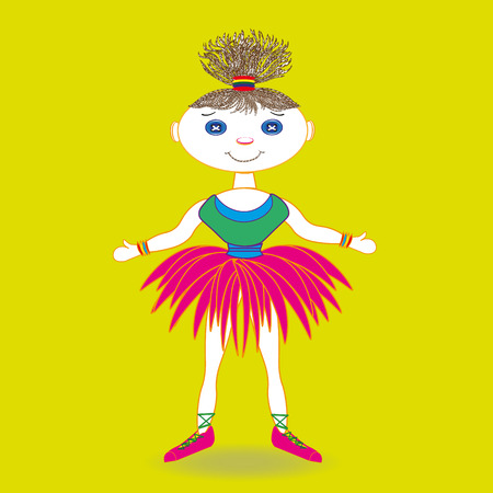 blue eyes: Doll Dancer picture Illustration doll dancer in lush skirt and pink pointe with lush hair and blue eyes on a yellow background Illustration