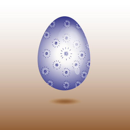 flowered: Egg blue glass flowered Drawing blue egg made of glass with a pattern in flower on a brown background Illustration