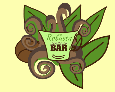robusta: Robusta coffee bar Logo Picture Bar coffee cup with green leaves and doodle lines