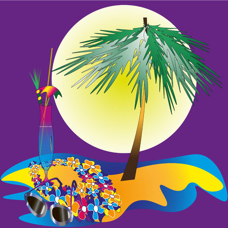 palm wreath: Drawing vacation on the island Drawing vacation on the island with a cocktail in the middle of the water, one palm wreath of colorful flowers on a purple background
