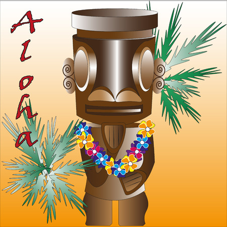 Illustration of the Tiki a graven image Illustration funny wooden the Tiki a graven image a yellow background with palm leaves