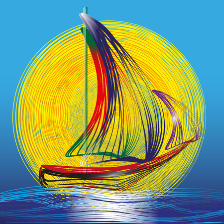equator: Image of ship with sails on the blue waves and sun An image of a ship in the ocean at dawn blue waves large sun out in front of him on a blue background Illustration