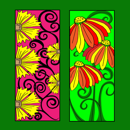 bookmarks: Bookmarks for books with flowers and ornaments Bookmarks for books with flower ornaments and leaves on a green background doodle