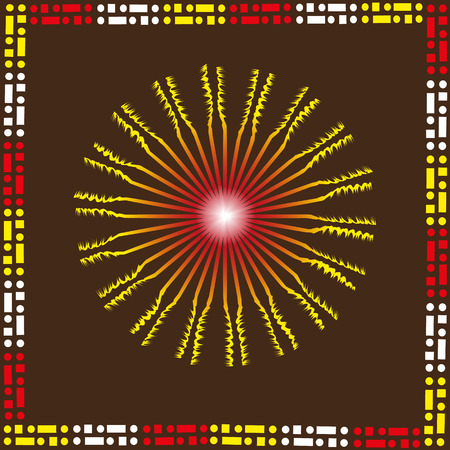 perimeter: Ethnic pattern sunny Ethnic pattern of sunny yellow on a brown background with a pattern on the sun perimertu pictures