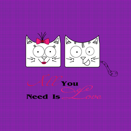 large size: Abstract illustration of two cats in love Illustration of two white funny love cats on a dark pink background image checkered for decoration and design