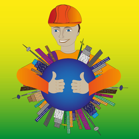 Illustration of a builder in a helmet Bright illustration of a builder in a helmet smiles and hugs the earth on which the building of the house