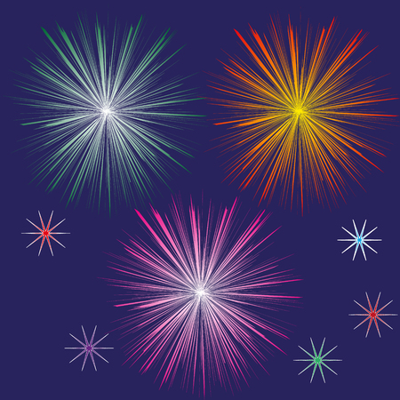 big five: Set of fireworks in the night sky Drawing set of three festive fireworks and five different color stars in the night dark blue sky