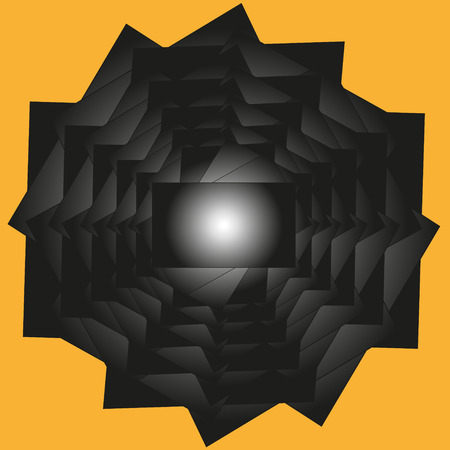 prisoner ball: Geometric fantasy illustration Illustration geometric fantasy complex and simple at the same time drawing a ball enclosed in a labyrinth of black on a yellow background