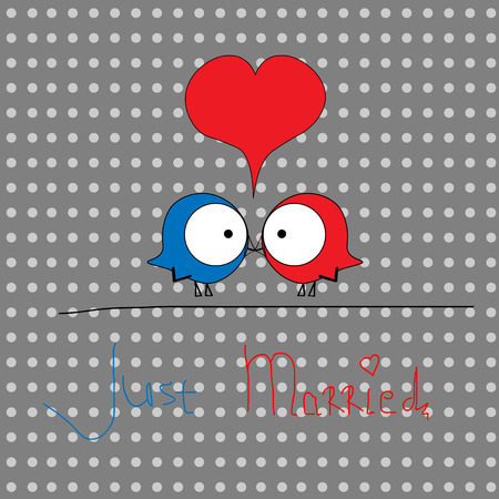 birdies: Picture two birdies just married Picture two birdies red and blue just married on the background with dots gray scale with a big red heart with the inscription for decoration and design