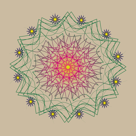 big star: Picture pattern twelve stars Picture pattern twelve stars are attached to the thirteenth openwork big star in the middle illustration is executed in pastel colors for decoration and design Illustration