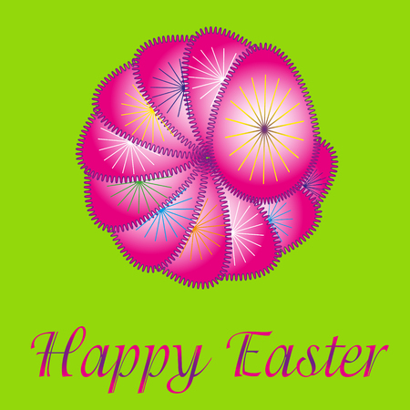 drawings image: Image Easter abstraction Image Easter abstract pattern of pink eggs with drawings in the form of rays, the inscription greeting for printing and decoration Illustration