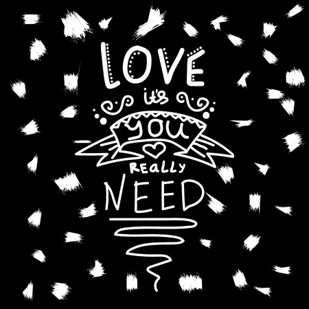 designer label: Love is all you need Designer label in retro style all you need is love doodle drawn style