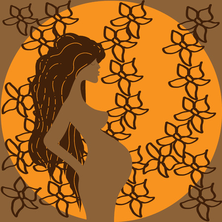hair ornament: Pregnancy girl with floral ornament Illustration of a pregnant woman with long hair on a round orange background with a pattern of flowers