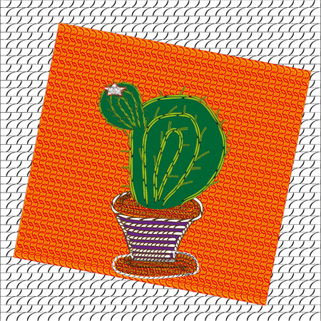 Image of blooming cactus Image of blooming cactus with a bud on which the flower indoor plant in a pot on a bright background with a pattern