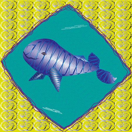 whale underwater: Illustration a large blue whale underwater Drawing a large blue whale underwater image concluded in a frame which is located on a yellow background with a pattern for decoration and design and print Illustration