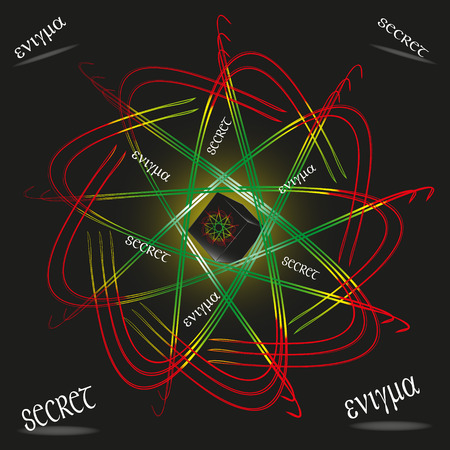 enigma: Images of fantasy box with secret Illustration of box with a secret is made in the style of fantasy, the word enigma written in Greek and English, a black box surrounded by a fabulous bright pattern on a black background picture