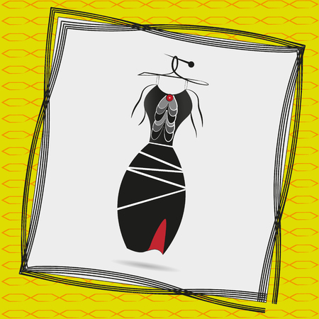 yellow dress: Image a black cocktail dress with frills Illustration of a black cocktail dress with frills on a hanger in a frame on a yellow background with a pattern