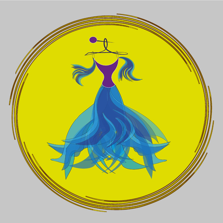 yellow dress: Drawing evening air blue dress Illustration evening air blue dress in a yellow box on a gray background