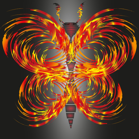 antennae: Drawing fiery butterfly Illustration on black background Abstract fire butterfly with antennae for decoration and design