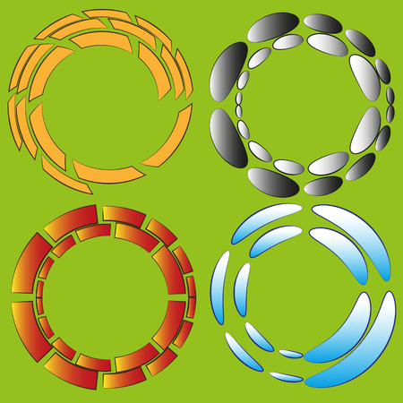 original circular abstract: Set of four round original effect or frame Figure set of four round original effect or frame on light green background for decoration and design Illustration