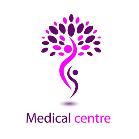 Logo di colore rosa Marchio medico Centro rosa albero situato su due persone con il simbolo medico ombra