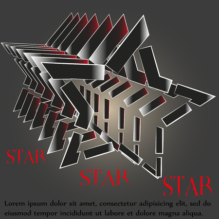 big size: Illustration of star logo luck Drawing five-pointed star logo luck for the company a lot of parallel objects on a black background can be used for decoration and design Illustration