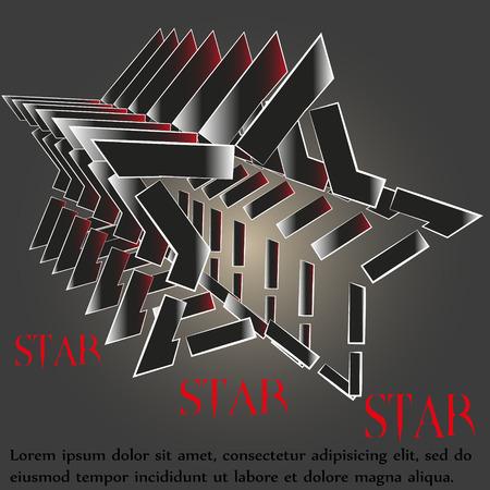 logos de empresas: Ilustración de la estrella logotipo de suerte Dibujo estrella de cinco puntas logotipo de suerte para la empresa una gran cantidad de objetos paralelos sobre un fondo negro se puede utilizar para la decoración y el diseño