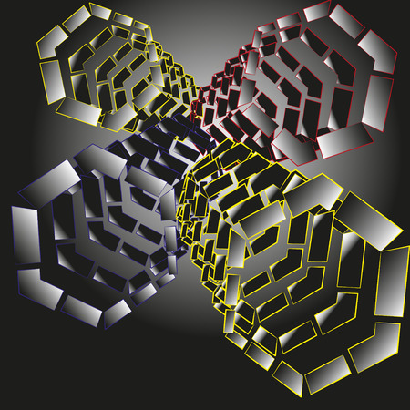 visible: Drawing abstraction of hexagons with the prospect Illustration abstraction on a black background of hexagons with a visible prospect for decoration and design Illustration
