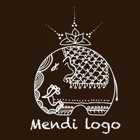 mendi: Elephant logo mendi elephant logo and Lotus painting mehndi style on a brown background