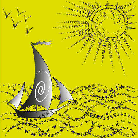 big size: Illustration a ship and the world of finance Image on a dark yellow background ship and the world of finance, currency notes from the ocean sun and a flock seagulls in the sky for decoration and design