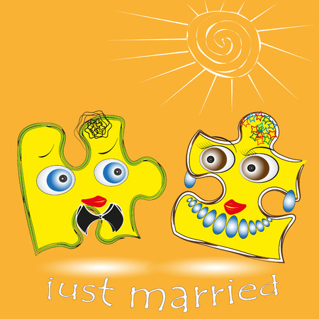 big size: Illustration of just married Picture two puzzle just got married on a yellow background, he and she under sun for decoration and design