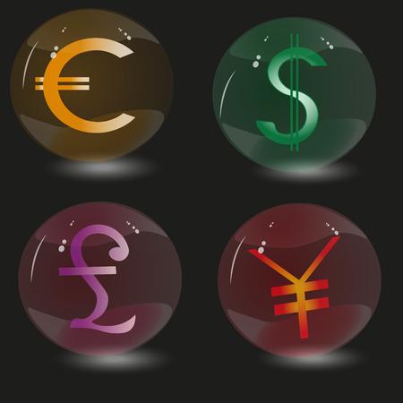画像 4 つのガラス球、世界の通貨に署名が装飾とデザインの黒の背景に世界でどのマーク通貨の中の 4 つのガラス球の設定