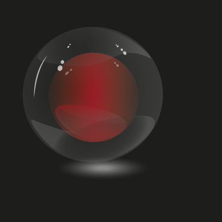 red sphere: Illustration two spheres Illustration of two small red sphere inside a large transparent on a black background for decoration and design