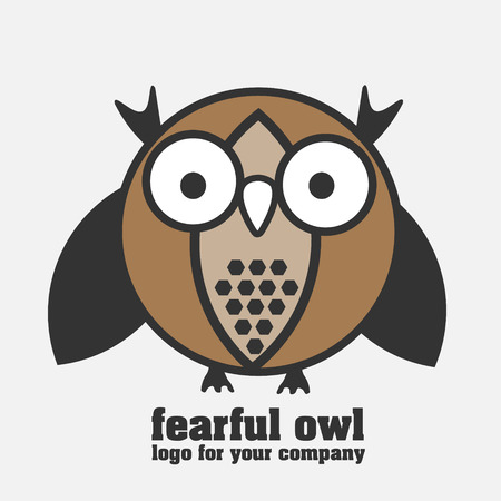 fearful: Fearful owl logotype Fearful owl with staring eyes in pastel colors logo