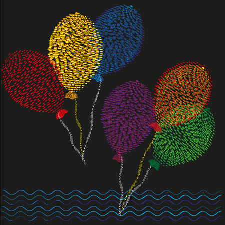 six point: Set of six colored balls Drawing in the style of pointillism primitive, set of six colored balls on the ropes in flight on a black background for decoration and design