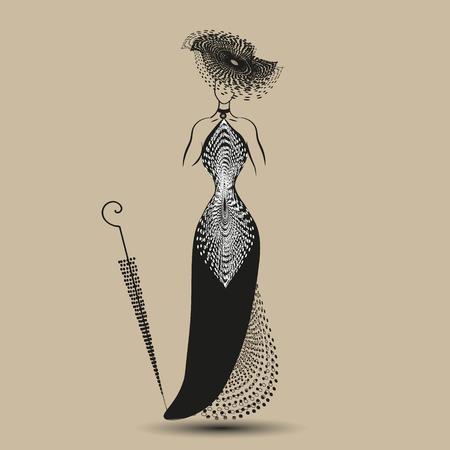 Imaginez noir robe de soirée Illustration sur pastel modèle de fond robe de soirée noire avec un chapeau et un parapluie pour la décoration et le design