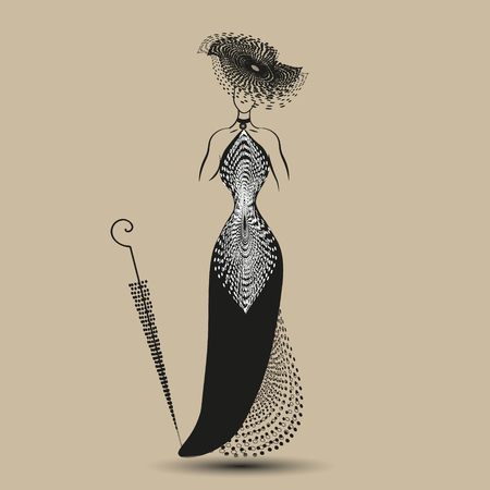 image size: Picture black evening dress Illustration on pastel background model black evening dress with a hat and an umbrella for decoration and design