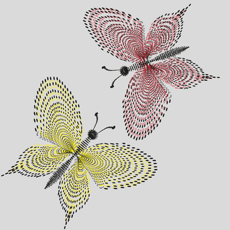 pointillism: Illustration on pastel background two butterfly lacy in the style of pointillism primitive for decoration and design
