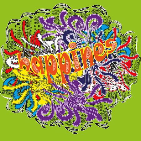 primitivism: Drawing bright colors Holli abstraction Illustration abstraction bright colors of Holli on a light green background with the word Happiness in the style of primitivism for decoration and design